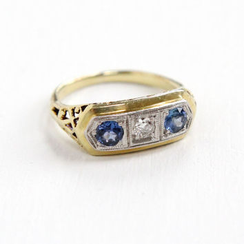Antique 15K Yellow & White Gold Diamond and Sapphire Ring - Vintage Art Deco 1920s 1930s Size 4 1/4 Engagement Fine Filigree Jewelry