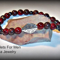 "Bracelet For Men Genuine Japser, Quartzite, Hematite & Focal Point :Sliver Plated Copper Bead ""The Secret To Happiness"""