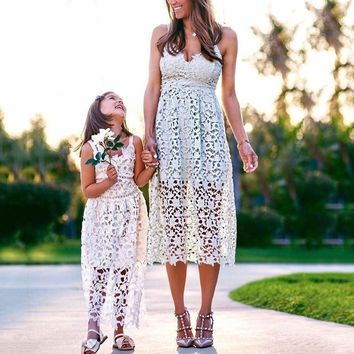 Fashion Sexy Straps Long Dress Embroidery Flower Hollow Skirt Show Body Dress White