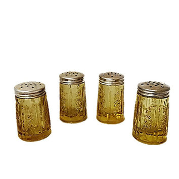Vintage Amber Glass Salt and Pepper Shakers | 4 Federal Glass |  Sharon Depression Glass | Old Serving Kitchen Decorative Home Decor