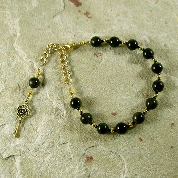 Hekate Prayer Bead Bracelet in Golden Obsidian: Greek Goddess of Magic and Witchcraft