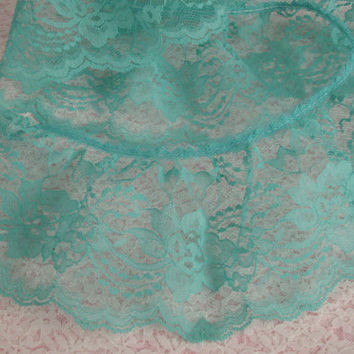 Turquoise Green Ruffled Lace Trim, Apparel, Bridal, Lace Journals, Doll Clothes, Fashion Lace Trim, Costumes, Decorative Lace Trim, 3 YARDS
