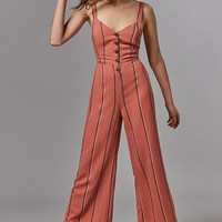UO Ashley Button-Down Tie-Back Jumpsuit | Urban Outfitters