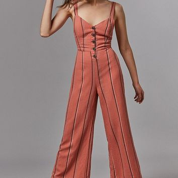 UO Ashley Button-Down Tie-Back Jumpsuit   Urban Outfitters