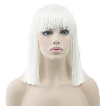 Soowee Short Straight White Wig High Temperature Fiber Synthetic Hair Black Gray Women Party Hairpiece Cosplay Wigs