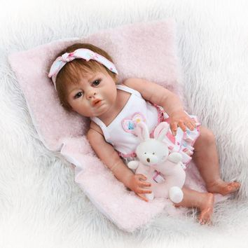 NPKCOLLECTION 20 Inch Reborn Doll Silicone Full Vinyl Lifelike Girl Princess Babies Toy Real Baby Dolls Reborn For Toddler Gift