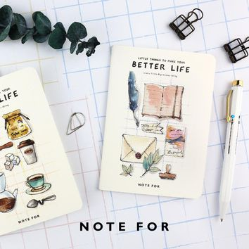 4 pcs/Lot Little things notebook Better life diary Vintage mini memo book A6 binder Stationery Office School supplies 6144