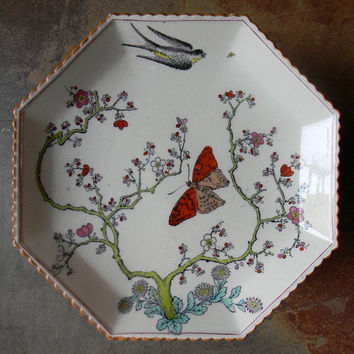 Copeland Spode Black Polychrome Transferware Octagon Footed Tray Compote Cheese Stand Cherry Blossoms  Daisies Birds and Butterflies