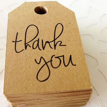 25 Kraft Thank You Favor Tags -  Hang Tags, Gift Tags, Die Cuts -  2.0X1.25 inch - Birthday, Wedding, Baby Shower