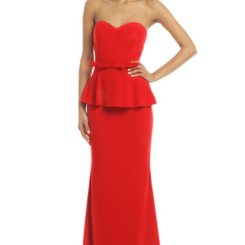 Badgley Mischka Rouge Rosalind Peplum Gown
