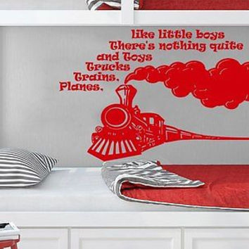 Wall Decal Quote Planes Trains Trucks and Toys Phrase Kids Nursery Decor C240