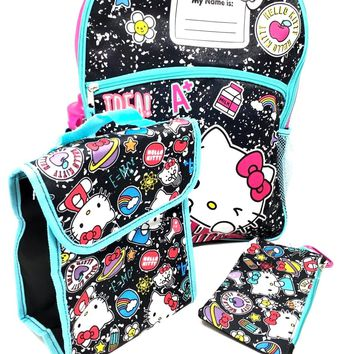 "Licensed 5 Items Hello Kitty 16"" Large Backpack With Lunch Bag-Case-Water Bottle"