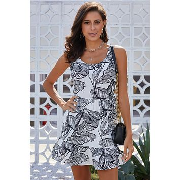 Cute Black Leaf Pattern Ruffled Summer Short Dress