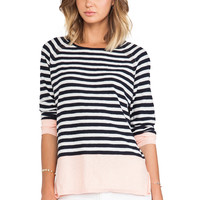 Vince Colorblocked Striped Raglan Sweater in Navy