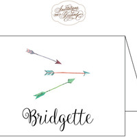 Arrows Note Cards Stationery - Watercolor Arrow Design - Personalized Notecards
