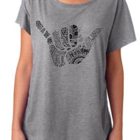 hang loose dolman top grey Tshirt Screenprinted Apparel Brandy Melville Inspired Design Clothing Unisex Adults Women Tees