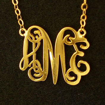 "1.25"" monogram necklace, 18k Gold sterling silver necklace, 3 initial necklace for mother women, extra size Personalized Monogram necklace"