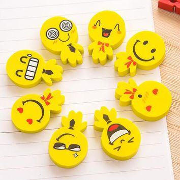 2 pcs/set Cute Smiley Face Rubber Eraser for Kids Gift School Supplies Korean Stationery Material Escolar