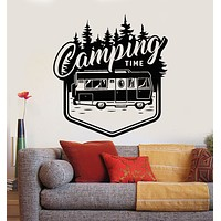 Vinyl Wall Decal Camping Time Adventure Bus Travel Tent Nature Stickers Mural (g2591)