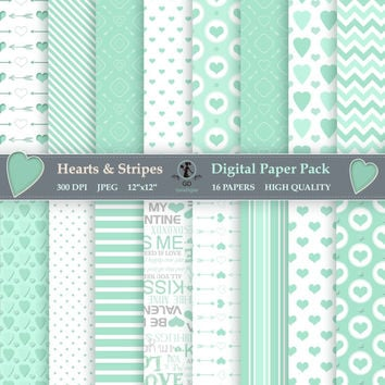 Minty Fresh Valentines Day Printable Digital Paper Pack - Romantic Mint Designs - Instant Download Scrapbooking Pack of 16
