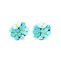 "Tiny Floral Stud Earrings ""Forget Me Not""  MADE TO ORDER Cute Earrings with Little Blue Flowers Tiny Turquoise Earrings Mint Stud Earrings"