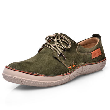 Natural Suede Shoes Men Breathable Men Casual Shoes Lace Up Blue Green Yellow