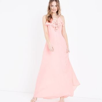 Coral Ruffle Lattice Front Maxi Dress | New Look