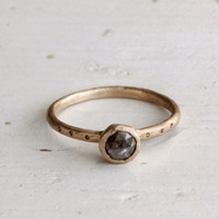 A milky grey rose cut diamond ring. Engagement. Mountain.