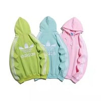 """""""Adidas """" Casual Fashion Letter Solid Color Pattern Long Sleeve Hooded Sweater Women Hoodie Tops"""