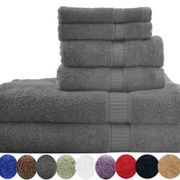 Utopia Luxury 6-Piece 100% Cotton Bath Towel Set, Includes 2 Bath towels, 2 Hand towels, 2 Washcloths - Gray