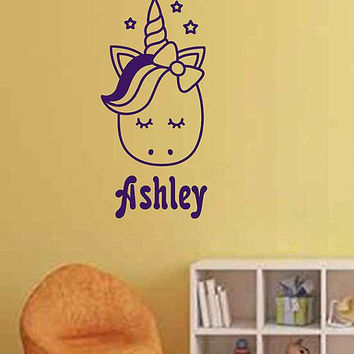 Personalized Name Unicorn Wall Decal Custom Name Unicorn Wall Sticker Vinyl Decal Monogram Girls Room Children Nursery Wall Decor ik3477