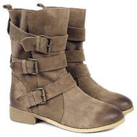 Suede Buckle Detail Chunky Heel Boots