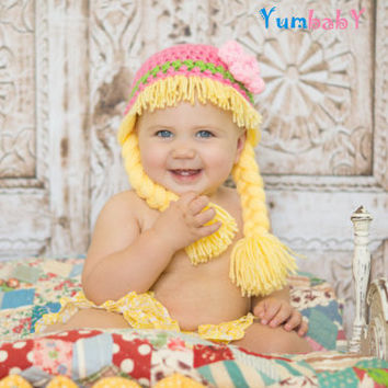 Baby Girl Beanie Wig- Pink Green Hat with Pigtails and Flower- Photoprop