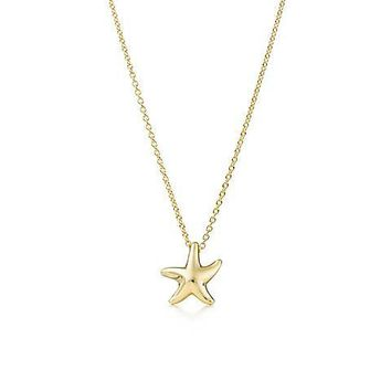 Tiffany & Co. Elsa Peretti Starfish Pendant 18K Yellow Gold with Chain