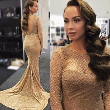 Gold Plaid Glitter Mermaid Maxi Dresses Bodycon Glittered Patchwork Hollow Out Full Sleeved Elegant Evening Backless Dress