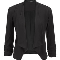 Black Drape Front Blazer With Cinched Sleeves - Black