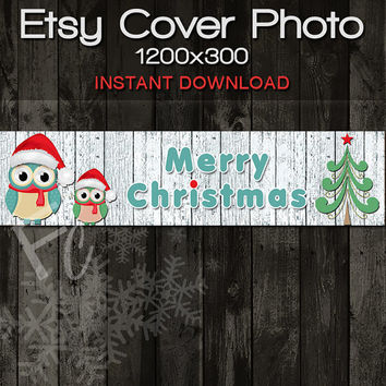 INSTANT DOWNLOAD, Etsy Shop Cover Photo 1200x300, Premade Merry Christmas Owl Design, Digital File, Holiday Website Header, Owls