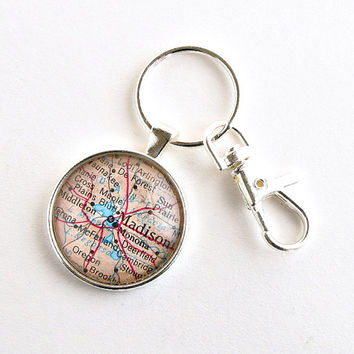 Madison Map Keychain / Madison Wisconsin / Gifts under 25 / Gifts for Men / Gift for Uncle / Small Christmas Gifts for Him