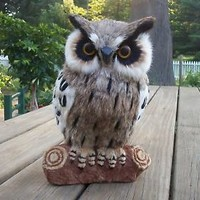 Large Owl Sculpture Figurine Made from Real Rabbit Fur Realistic Bird of Prey