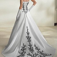 Buy Exquisite Charming Divine Satin A-line Strapless Wedding Dress In Great Handwork