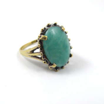 Panetta Jade Glass Ring, 18K Sterling Silver Vermeil Jade Peking Glass, Rare Panetta Cocktail Statement Ring, Panetta Jewelry,  Size 5.25