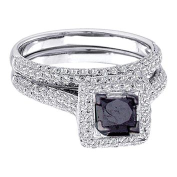 14k White Gold Women's Black Princess Diamond Solitaire Pave Wedding Bridal Ring Set 1-1/4 Cttw - FREE Shipping (US/CAN) Size 6