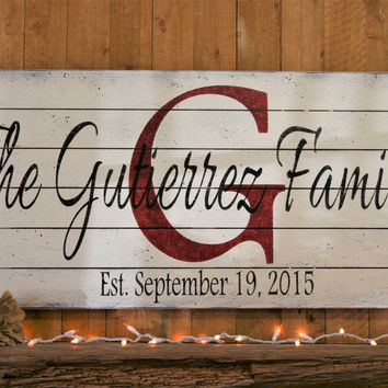 Name Sign Initial Sign Family Name Sign Pallet Sign Personalized Sign Shabby Chic Wall Decor Wedding Gift Housewarming Gift Anniversary Gift