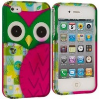 niceEshop(TM) Hot Pink/Green Cute Patchwork Owl Hard Snap On Case Cover for Apple iPhone4/4S +Screen Protector
