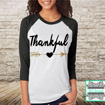 Thankful Shirt with Glitter Accent - Thanksgiving Shirt - Unisex Raglan - Thanksgiving top, Give thanks top, Gobble Gobble Top