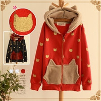 Japanese kawaii cartoon cat ears hooded fleece coat from Fashion Kawaii [Japan & Korea]
