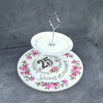 Anniversary Plate Stand, 2 Tier Cake Plate, Double Plate Stand, 25th Anniversary Plate, Pink & Silver Cake Stand 167