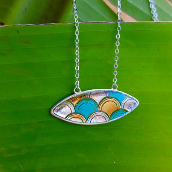 Mermaid Scales Necklace, Blue and Gold Mermaid, 14K Gold Filled, Sterling silver necklace, resin jewelry