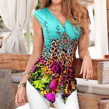 V-neck Cotton T-shirt Printing Irregular Sleeveless Tank Top Fashion Summer Tops [8833475532]