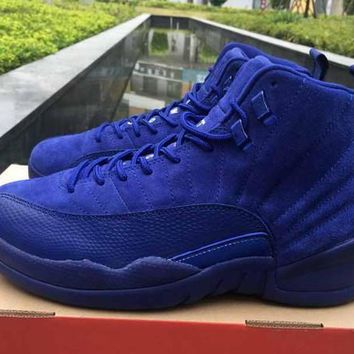 Air Jordan 12 Premium Deep Royal Blue Suede Wool Black Nylon Basketball Shoes Men spor